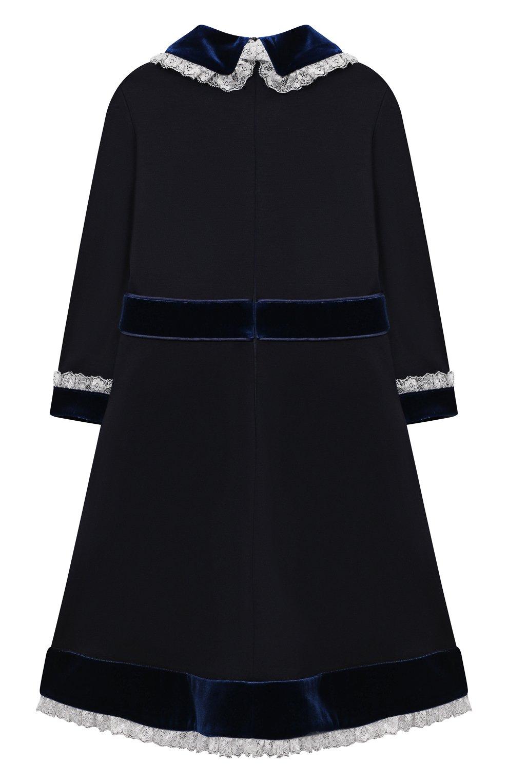 Детское платье из вискозы DAN MARALEX темно-синего цвета, арт. 252343313 | Фото 2 (Рукава: Длинные; Случай: Повседневный; Материал внешний: Синтетический материал, Вискоза; Девочки Кросс-КТ: Платье-одежда)