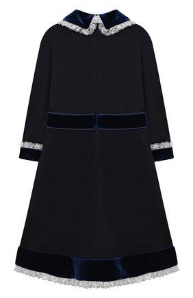Детское платье из вискозы DAN MARALEX темно-синего цвета, арт. 252343313 | Фото 2 (Материал внешний: Вискоза, Синтетический материал; Рукава: Длинные; Девочки Кросс-КТ: Платье-одежда; Случай: Повседневный)