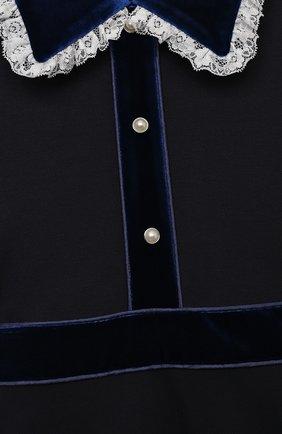 Детское платье из вискозы DAN MARALEX темно-синего цвета, арт. 252343313 | Фото 3 (Рукава: Длинные; Случай: Повседневный; Материал внешний: Синтетический материал, Вискоза; Девочки Кросс-КТ: Платье-одежда)