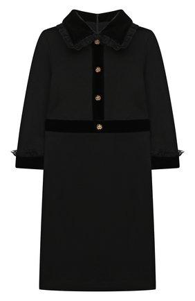 Детское платье из вискозы DAN MARALEX черного цвета, арт. 252273319 | Фото 1 (Материал внешний: Вискоза, Синтетический материал; Рукава: Длинные; Девочки Кросс-КТ: Платье-одежда; Случай: Повседневный)
