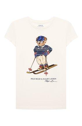 Детская хлопковая футболка POLO RALPH LAUREN кремвого цвета, арт. 312853435 | Фото 1 (Рукава: Короткие; Материал внешний: Хлопок)