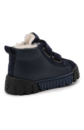 Детские кожаные кеды FALCOTTO синего цвета, арт. 0012016128/21   Фото 3 (Материал утеплителя: Натуральный мех; Кросс-КТ: велькро)