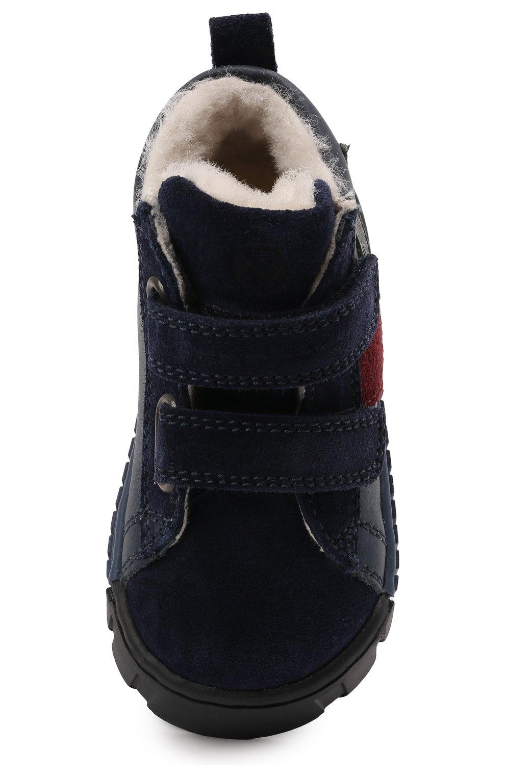 Детские кожаные кеды FALCOTTO синего цвета, арт. 0012016128/21   Фото 4 (Материал утеплителя: Натуральный мех; Кросс-КТ: велькро)