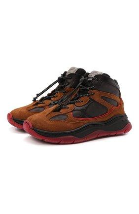Детские замшевые кроссовки RONDINELLA коричневого цвета, арт. 11958E/6430/28-30   Фото 1 (Материал внешний: Текстиль; Материал утеплителя: Шерсть; Стили: Гранж)