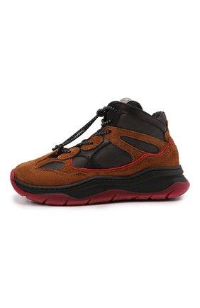Детские замшевые кроссовки RONDINELLA коричневого цвета, арт. 11958E/6430/28-30   Фото 2 (Материал внешний: Текстиль; Материал утеплителя: Шерсть; Стили: Гранж)
