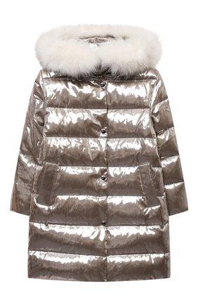 Детское пуховое пальто YVES SALOMON ENFANT серебряного цвета, арт. 22WEM003XXM08W/4-6 | Фото 1 (Материал утеплителя: Пух и перо; Материал внешний: Синтетический материал; Девочки Кросс-КТ: Пуховик-верхняя одежда; Рукава: Длинные; Кросс-КТ: Сезон: зима)
