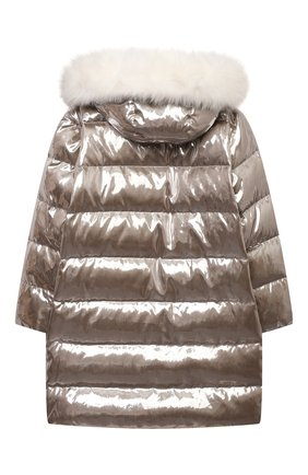 Детское пуховое пальто YVES SALOMON ENFANT серебряного цвета, арт. 22WEM003XXM08W/4-6 | Фото 2 (Материал утеплителя: Пух и перо; Материал внешний: Синтетический материал; Девочки Кросс-КТ: Пуховик-верхняя одежда; Рукава: Длинные; Кросс-КТ: Сезон: зима)