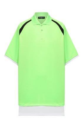 Мужское поло BALENCIAGA зеленого цвета, арт. 661507/TKVA5 | Фото 1 (Материал внешний: Синтетический материал; Длина (для топов): Удлиненные; Стили: Спорт-шик; Рукава: Короткие; Застежка: Пуговицы)