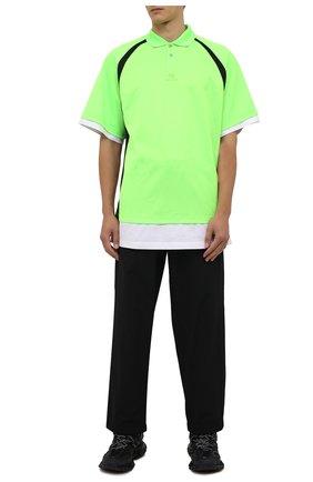 Мужское поло BALENCIAGA зеленого цвета, арт. 661507/TKVA5 | Фото 2 (Материал внешний: Синтетический материал; Длина (для топов): Удлиненные; Стили: Спорт-шик; Рукава: Короткие; Застежка: Пуговицы)