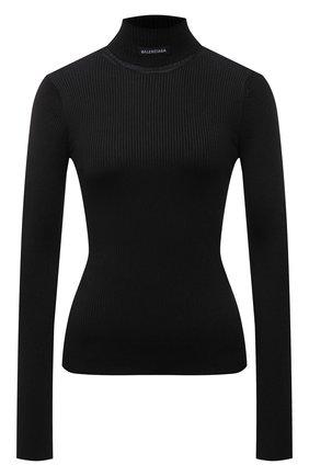 Женская водолазка BALENCIAGA черного цвета, арт. 675344/T6193 | Фото 1 (Рукава: Длинные; Длина (для топов): Стандартные; Материал внешний: Синтетический материал; Женское Кросс-КТ: Водолазка-одежда; Стили: Спорт-шик)