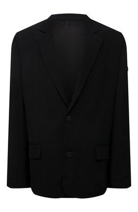 Женский жакет из вискозы BALENCIAGA черного цвета, арт. 674431/TJ025 | Фото 1 (Длина (для топов): Удлиненные; Материал внешний: Вискоза; Рукава: Длинные; Материал подклада: Купро; Женское Кросс-КТ: Жакет-одежда; Стили: Кэжуэл; 1-2-бортные: Однобортные)