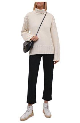 Женские комбинированные кеды SAINT LAURENT белого цвета, арт. 669434/12N40 | Фото 2 (Материал внутренний: Текстиль, Натуральная кожа; Материал внешний: Текстиль; Подошва: Платформа; Кросс-КТ: хайтопы)