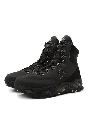 Мужские текстильные ботинки fitztreck PREMIATA черного цвета, арт. FITZTRECK/VAR209 | Фото 1 (Материал внешний: Текстиль; Подошва: Массивная; Материал внутренний: Натуральная кожа; Мужское Кросс-КТ: Ботинки-обувь, Хайкеры-обувь)