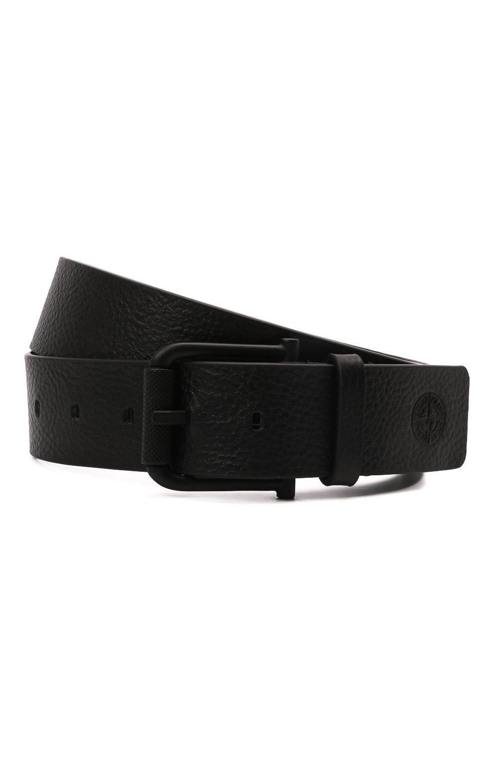 Мужской кожаный ремень STONE ISLAND черного цвета, арт. 751594772 | Фото 1 (Случай: Повседневный)
