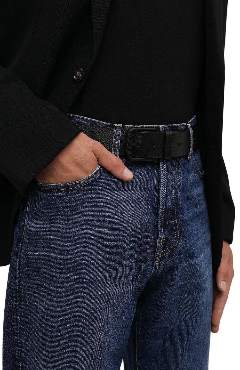 Мужской кожаный ремень STONE ISLAND черного цвета, арт. 751594772 | Фото 2 (Случай: Повседневный)