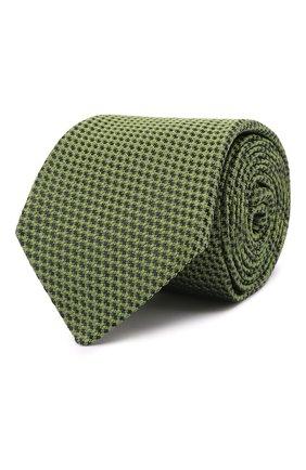 Мужской шелковый галстук LUIGI BORRELLI зеленого цвета, арт. CR361170 | Фото 1 (Материал: Текстиль, Шелк; Принт: С принтом)