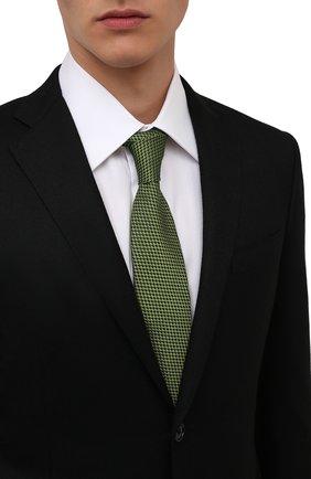 Мужской шелковый галстук LUIGI BORRELLI зеленого цвета, арт. CR361170 | Фото 2 (Материал: Текстиль, Шелк; Принт: С принтом)