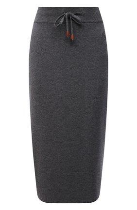 Женская юбка из кашемира и хлопка BURBERRY темно-серого цвета, арт. 8045019   Фото 1 (Длина Ж (юбки, платья, шорты): Миди; Материал внешний: Шерсть, Хлопок, Кашемир; Женское Кросс-КТ: Юбка-одежда; Кросс-КТ: Трикотаж; Стили: Кэжуэл)