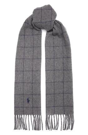 Мужской шерстяной шарф POLO RALPH LAUREN серого цвета, арт. 449853955 | Фото 1 (Материал: Шерсть; Кросс-КТ: шерсть)