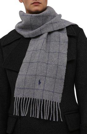 Мужской шерстяной шарф POLO RALPH LAUREN серого цвета, арт. 449853955 | Фото 2 (Материал: Шерсть; Кросс-КТ: шерсть)