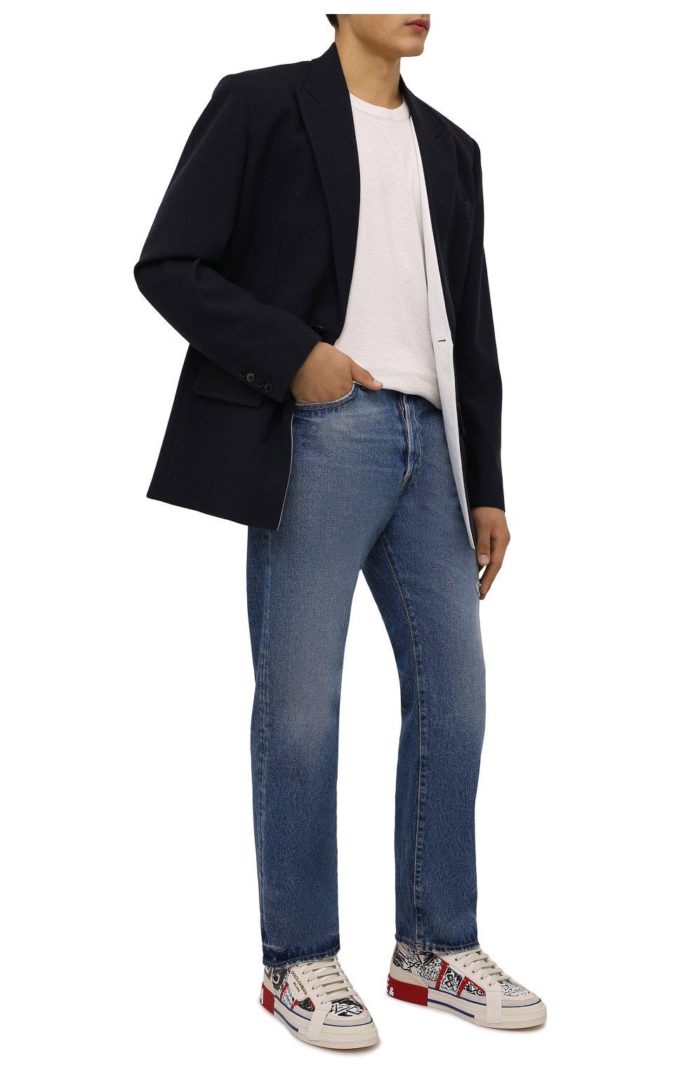 Мужские кожаные кеды custom 2.zero DOLCE & GABBANA белого цвета, арт. CS1870/A0806 | Фото 2 (Материал внутренний: Натуральная кожа; Подошва: Массивная)