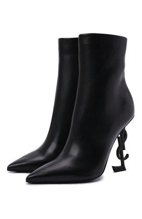 Женские кожаные ботильоны opyum 110 SAINT LAURENT черного цвета, арт. 563753/0RRUU | Фото 1 (Материал внутренний: Натуральная кожа; Подошва: Плоская; Каблук высота: Высокий; Каблук тип: Устойчивый)
