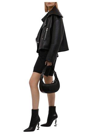 Женские кожаные ботильоны opyum 110 SAINT LAURENT черного цвета, арт. 563753/0RRUU | Фото 2 (Материал внутренний: Натуральная кожа; Подошва: Плоская; Каблук высота: Высокий; Каблук тип: Устойчивый)