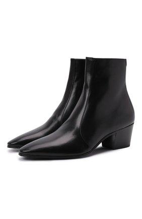 Мужские кожаные сапоги vassili SAINT LAURENT черного цвета, арт. 667620/25N00 | Фото 1 (Материал внутренний: Натуральная кожа; Подошва: Плоская; Каблук высота: Высокий; Мужское Кросс-КТ: Сапоги-обувь, Казаки-обувь)