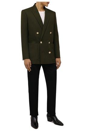 Мужские кожаные сапоги vassili SAINT LAURENT черного цвета, арт. 667620/25N00 | Фото 2 (Материал внутренний: Натуральная кожа; Подошва: Плоская; Каблук высота: Высокий; Мужское Кросс-КТ: Сапоги-обувь, Казаки-обувь)