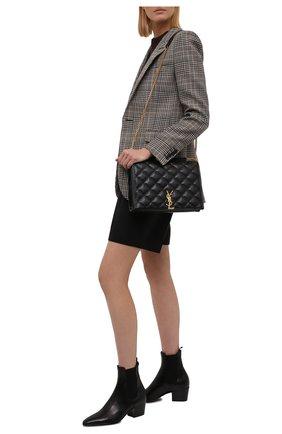Женские кожаные ботильоны vassili 60 SAINT LAURENT черного цвета, арт. 669173/25N00 | Фото 2 (Материал внутренний: Натуральная кожа; Каблук высота: Низкий; Подошва: Плоская; Каблук тип: Устойчивый)