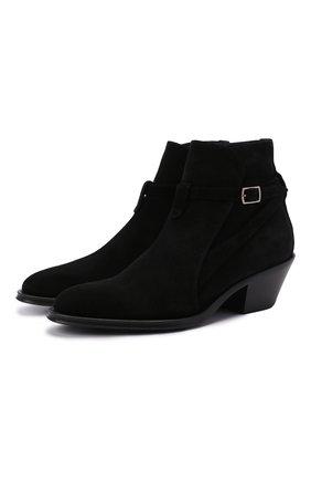 Женские замшевые ботинки SAINT LAURENT черного цвета, арт. 670251/1NZ00 | Фото 1 (Материал внутренний: Натуральная кожа; Каблук высота: Низкий; Подошва: Плоская; Женское Кросс-КТ: Казаки-ботинки; Материал внешний: Замша)