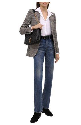 Женские замшевые ботинки SAINT LAURENT черного цвета, арт. 670251/1NZ00 | Фото 2 (Материал внутренний: Натуральная кожа; Каблук высота: Низкий; Подошва: Плоская; Женское Кросс-КТ: Казаки-ботинки; Материал внешний: Замша)