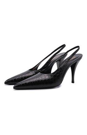 Женские кожаные туфли SAINT LAURENT черного цвета, арт. 670677/2YZ00 | Фото 1 (Каблук высота: Высокий; Материал внутренний: Натуральная кожа; Подошва: Плоская; Каблук тип: Шпилька)