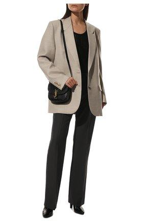 Женские ботильоны SAINT LAURENT черного цвета, арт. 670757/26000 | Фото 2 (Материал внутренний: Натуральная кожа; Каблук высота: Высокий; Материал внешний: Текстиль; Подошва: Плоская; Каблук тип: Устойчивый)