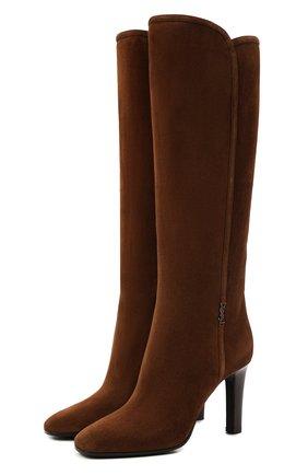 Женские замшевые сапоги SAINT LAURENT коричневого цвета, арт. 672320/27D00 | Фото 1 (Высота голенища: Средние; Материал внутренний: Натуральная кожа; Подошва: Плоская; Каблук высота: Высокий; Каблук тип: Устойчивый; Материал внешний: Замша)