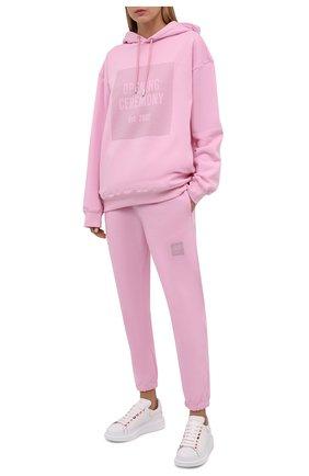 Женский хлопковое худи OPENING CEREMONY розового цвета, арт. YWBB006F21FLE001 | Фото 2 (Материал внешний: Хлопок; Женское Кросс-КТ: Худи-одежда; Рукава: Длинные; Стили: Спорт-шик; Длина (для топов): Стандартные, Удлиненные)