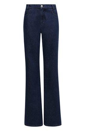 Женские джинсы RAF SIMONS темно-синего цвета, арт. 212-W300-10031   Фото 1 (Материал внешний: Хлопок; Длина (брюки, джинсы): Удлиненные; Кросс-КТ: Деним; Детали: Потертости; Силуэт Ж (брюки и джинсы): Расклешенные; Стили: Кэжуэл)