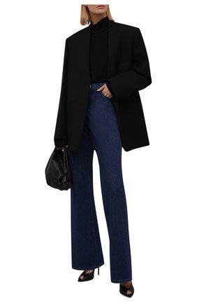 Женские джинсы RAF SIMONS темно-синего цвета, арт. 212-W300-10031   Фото 2 (Материал внешний: Хлопок; Длина (брюки, джинсы): Удлиненные; Кросс-КТ: Деним; Детали: Потертости; Силуэт Ж (брюки и джинсы): Расклешенные; Стили: Кэжуэл)