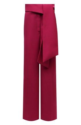 Женские шерстяные брюки LANVIN фуксия цвета, арт. RW-TR0034-5028-H21   Фото 1 (Материал внешний: Шерсть; Длина (брюки, джинсы): Стандартные; Женское Кросс-КТ: Брюки-одежда; Силуэт Ж (брюки и джинсы): Широкие; Стили: Романтичный)