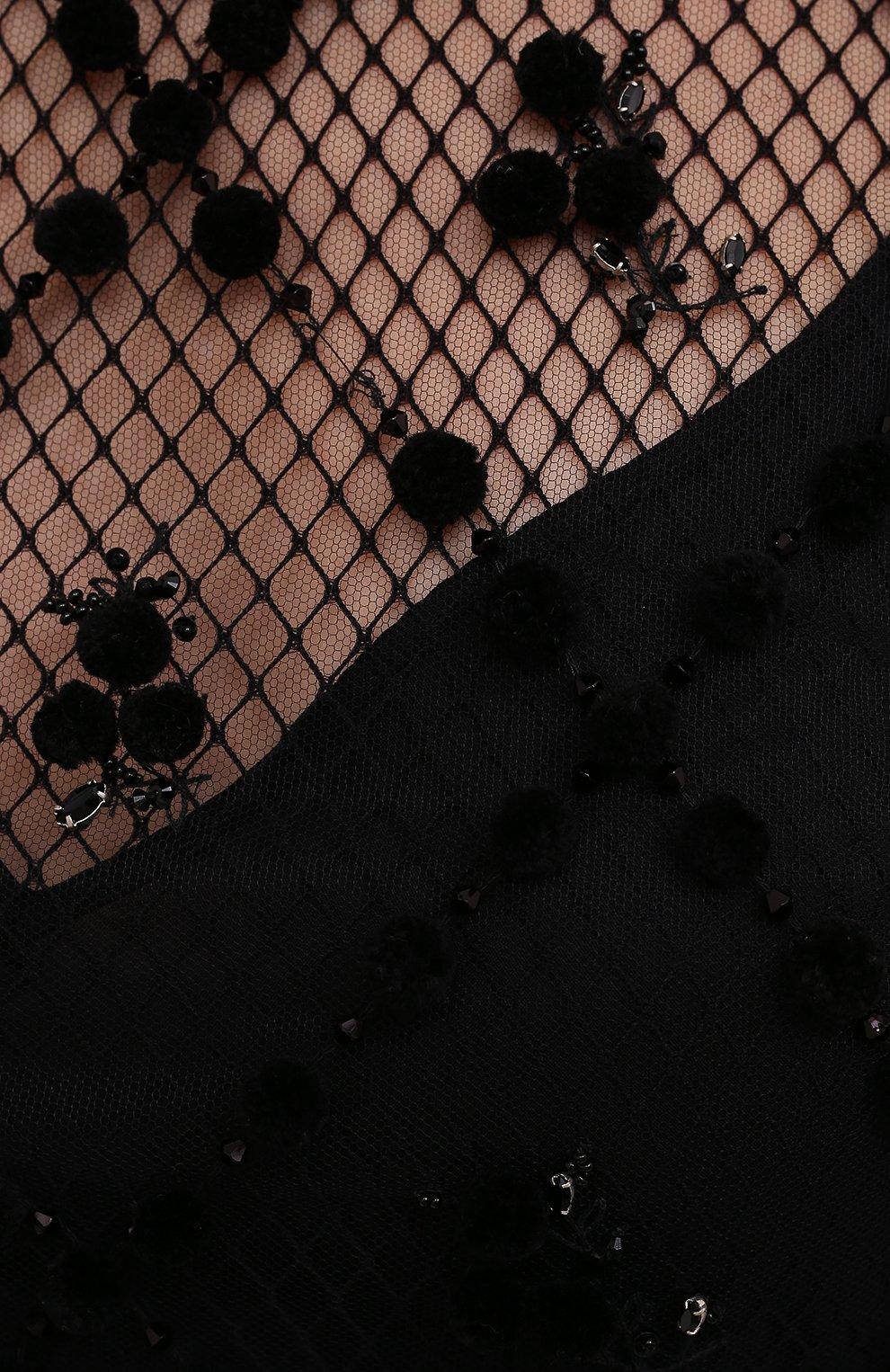 Женское платье VALENTINO черного цвета, арт. WB0VAXD56LR | Фото 5 (Случай: Коктейльный; Рукава: Длинные; Длина Ж (юбки, платья, шорты): Мини; Материал внешний: Синтетический материал; Материал подклада: Вискоза; Стили: Романтичный; Женское Кросс-КТ: Платье-одежда)