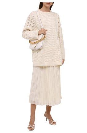 Женский шерстяной свитер VALENTINO белого цвета, арт. WB0KC27Z6R4 | Фото 2 (Рукава: Длинные; Длина (для топов): Удлиненные; Материал внешний: Шерсть; Женское Кросс-КТ: Свитер-одежда; Стили: Кэжуэл)