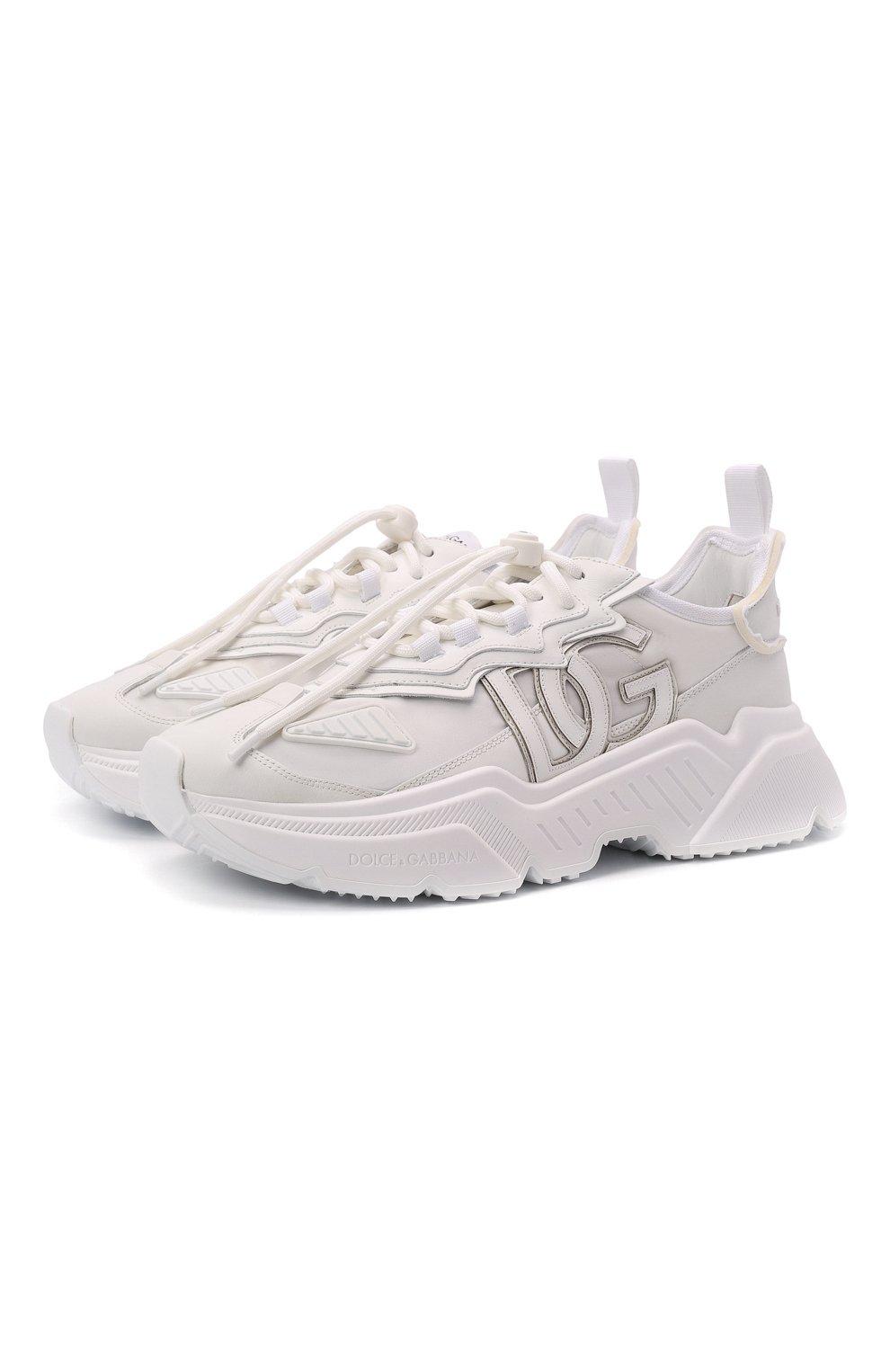 Мужские комбинированные кроссовки daymaster DOLCE & GABBANA белого цвета, арт. CS1941/AQ354 | Фото 1 (Материал внешний: Текстиль; Материал внутренний: Натуральная кожа; Стили: Гранж; Подошва: Массивная)