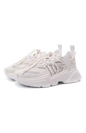 Мужские комбинированные кроссовки daymaster DOLCE & GABBANA белого цвета, арт. CS1941/AQ354 | Фото 1 (Материал внешний: Текстиль; Материал внутренний: Натуральная кожа; Подошва: Массивная; Стили: Гранж)