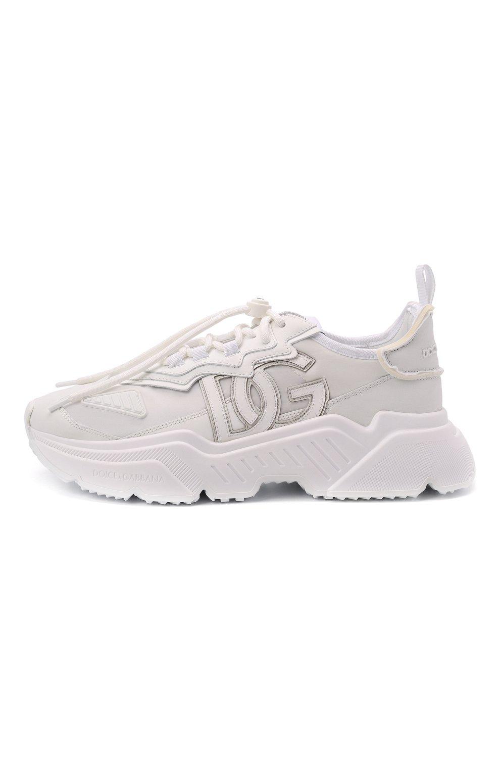 Мужские комбинированные кроссовки daymaster DOLCE & GABBANA белого цвета, арт. CS1941/AQ354 | Фото 3 (Материал внешний: Текстиль; Материал внутренний: Натуральная кожа; Стили: Гранж; Подошва: Массивная)