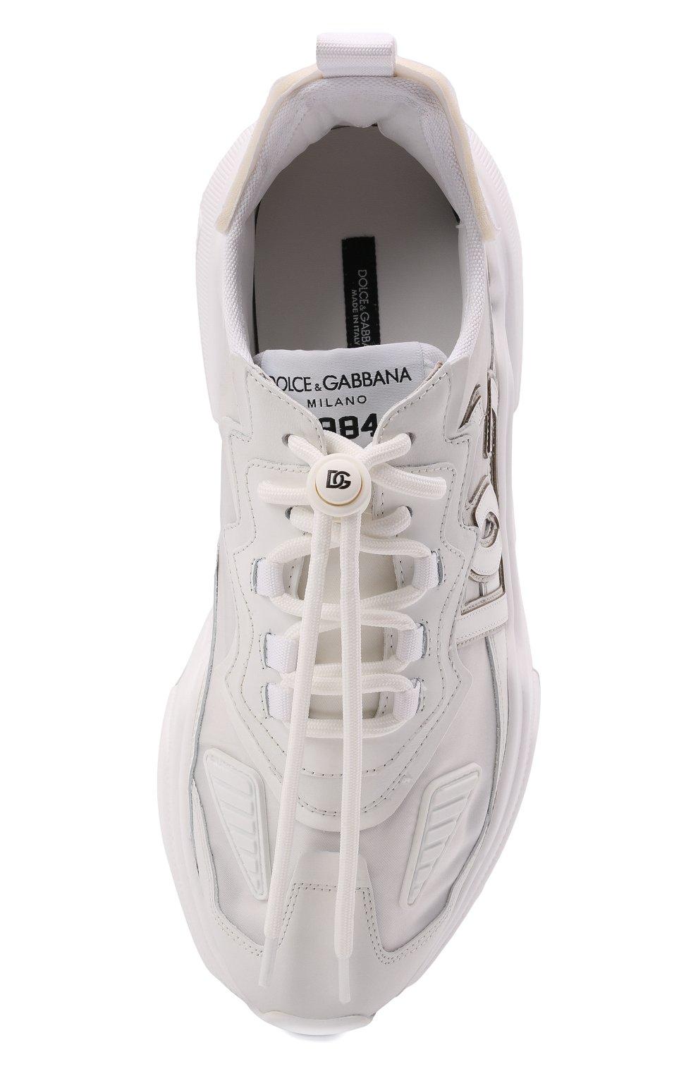 Мужские комбинированные кроссовки daymaster DOLCE & GABBANA белого цвета, арт. CS1941/AQ354 | Фото 5 (Материал внешний: Текстиль; Материал внутренний: Натуральная кожа; Стили: Гранж; Подошва: Массивная)