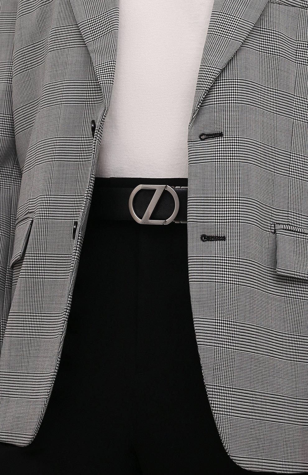 Мужской кожаный ремень Z ZEGNA темно-синего цвета, арт. BRIA1A/J1104C   Фото 2 (Случай: Формальный)
