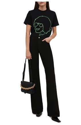 Женская хлопковая футболка KENZO черного цвета, арт. FB62TS6664SB   Фото 2 (Рукава: Короткие; Материал внешний: Хлопок; Длина (для топов): Стандартные; Женское Кросс-КТ: Футболка-одежда; Принт: С принтом; Стили: Спорт-шик)