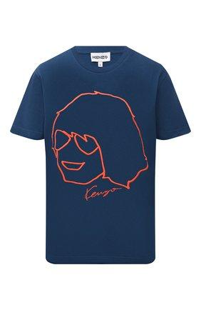 Женская хлопковая футболка KENZO синего цвета, арт. FB62TS6664SB | Фото 1 (Рукава: Короткие; Длина (для топов): Стандартные; Материал внешний: Хлопок; Женское Кросс-КТ: Футболка-одежда; Принт: С принтом; Стили: Спорт-шик)