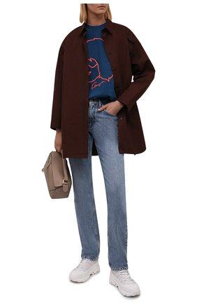 Женская хлопковая футболка KENZO синего цвета, арт. FB62TS6664SB   Фото 2 (Рукава: Короткие; Длина (для топов): Стандартные; Материал внешний: Хлопок; Женское Кросс-КТ: Футболка-одежда; Принт: С принтом; Стили: Спорт-шик)