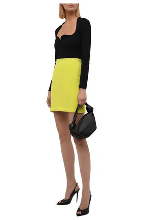 Женская юбка KENZO желтого цвета, арт. FB62JU6283RE | Фото 2 (Длина Ж (юбки, платья, шорты): Мини; Материал внешний: Синтетический материал; Женское Кросс-КТ: Юбка-одежда; Кросс-КТ: Трикотаж; Стили: Спорт-шик)